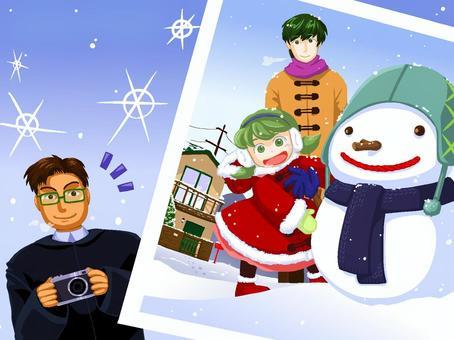 冬天的家庭照片