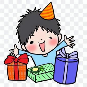 生日禮物快樂的男孩