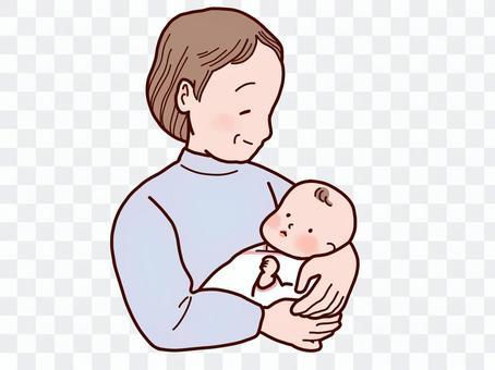 女人抱著一個嬰兒