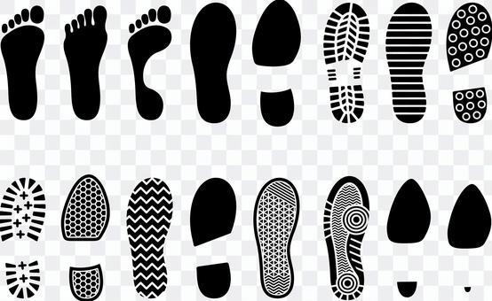 Footprint shoe sole set