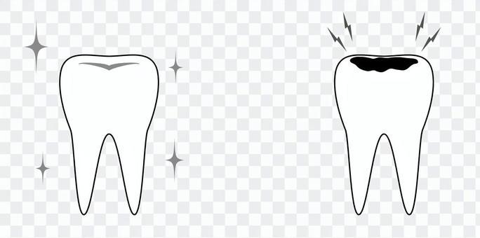 美麗的牙齒和蛀牙單色
