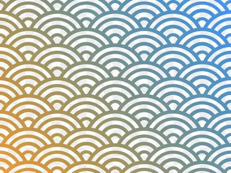 漸變青海波浪背景:藍色x橙色