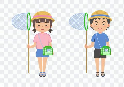 Insect catching child