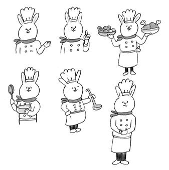 兔子廚師單色