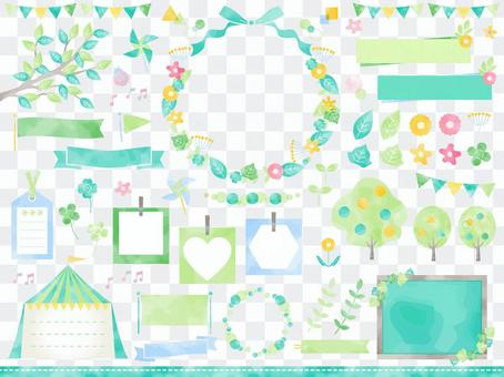 Fresh green and natural watercolor frameset