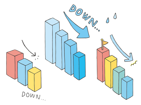 Three-dimensional bar graph illustration handwritten