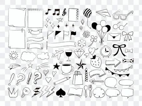 可愛的手繪圖標集