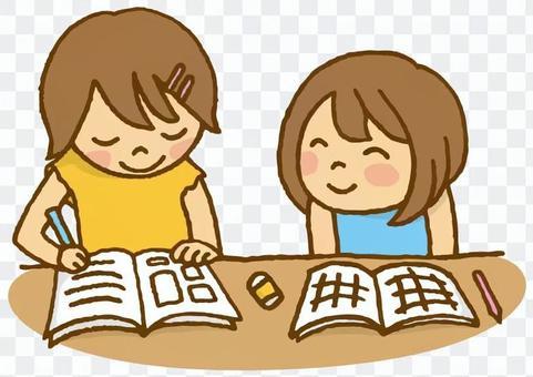 兒童(與朋友一起做作業)
