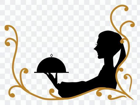 婦女攜帶食物的框架