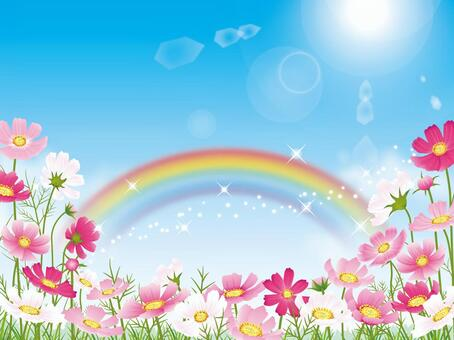 藍藍的天空背景與宇宙領域和彩虹