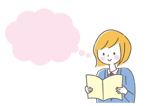 讀書和講話泡影的女小學生