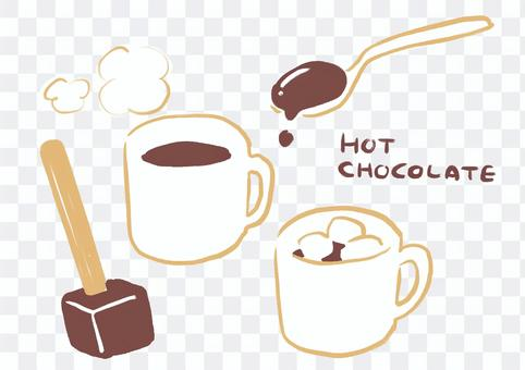 Hot chocolate illustration set