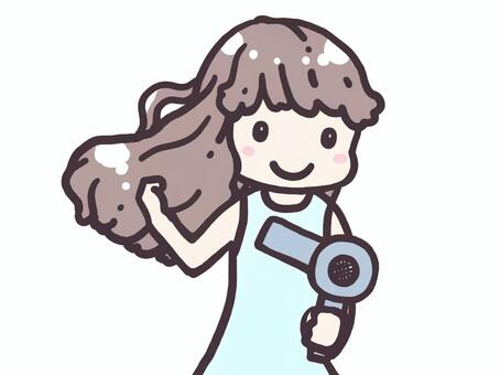 用吹風機吹乾頭髮