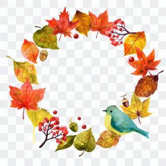 鳥和秋天的樹葉的礁框架