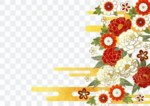 水彩風紅白牡丹や菊の和花背景ヨコ透過アリ