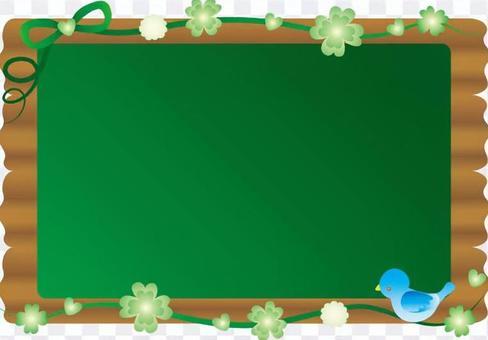 Clover and bird's bulletin board (blackboard)