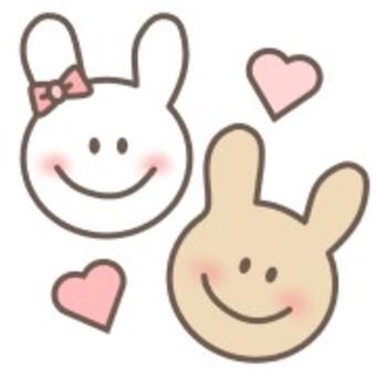 ウサギ 白 顔 リボン 笑顔