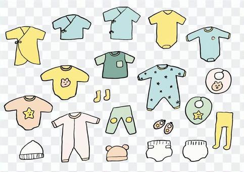 手繪嬰兒衣服套裝