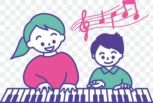 ピアノのレッスンをする親子 3色