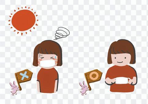 真夏のマスク着用の注意