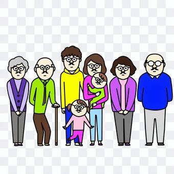 髭メガネをつけて並ぶ家族
