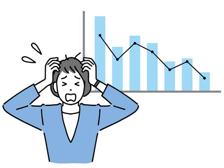 經營業績下降和沮喪的女商人