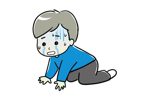 一個人在哭泣時沮喪的插圖 01