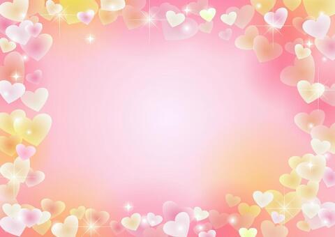 ハートフレームの背景ピンク横