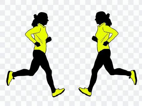 Female runner yellow shirt