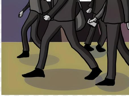插圖描繪了一個人走路的腳