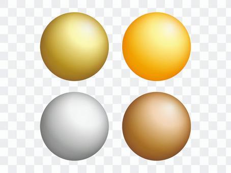 光滑的金,銀和銅圓形套裝