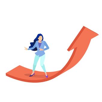 Career woman on the rising arrow