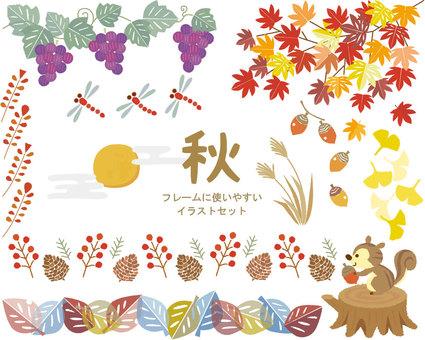 可以在秋天使用的插圖集