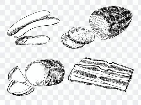 火腿,熏肉和培根(線條藝術)