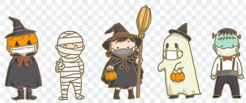 マスクをつけてハロウィンの仮装