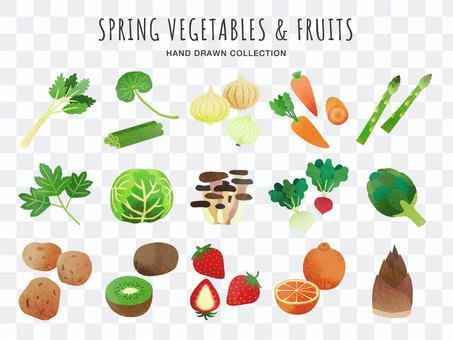 野菜と果物の手描きのイラスト(春)