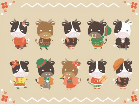 年底和新年假期穿冬天的衣服的牛