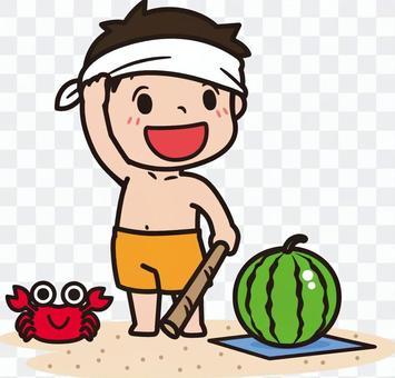 子ども スイカ割り 海水浴