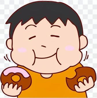 男人吃甜甜圈的例證