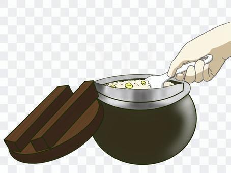 手煮新鮮煮熟的米飯