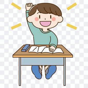 一個精力旺盛的男孩,舉起他的手,說話
