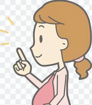 懷孕的婦女指向左側 - 胸圍