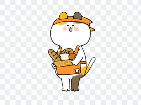 笑顔のパン屋の店員な三毛猫