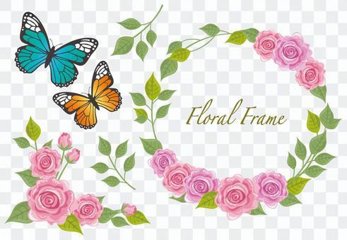 玫瑰和蝴蝶框架材料
