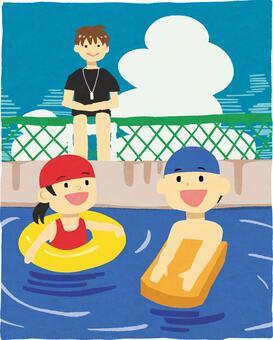 與衛兵在游泳池玩耍的孩子