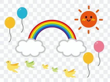 Sun Rainbow Birds Balloon