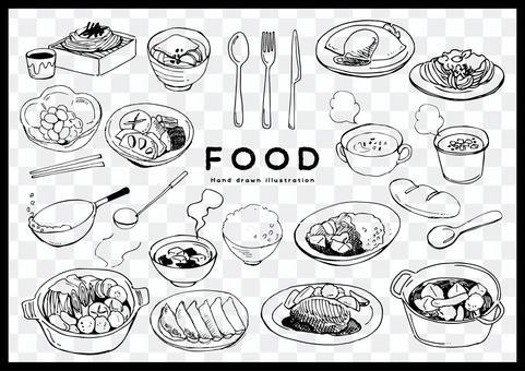 Handwritten food illustration set