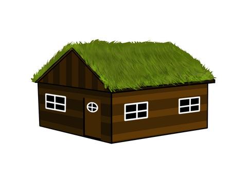 Scandinavian grass roof log house