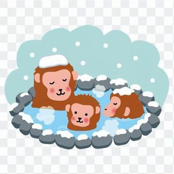 猴子的親子進入溫泉
