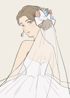 一個穿著婚紗轉身的女人